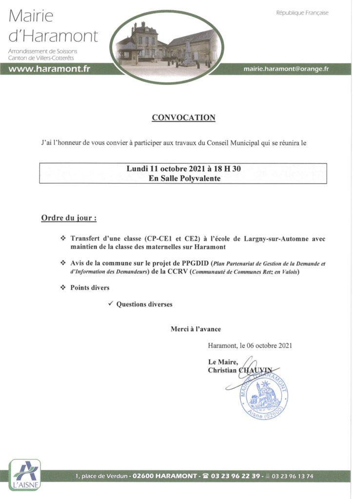 convocation conseil municipal haramont 11 octobre 2021